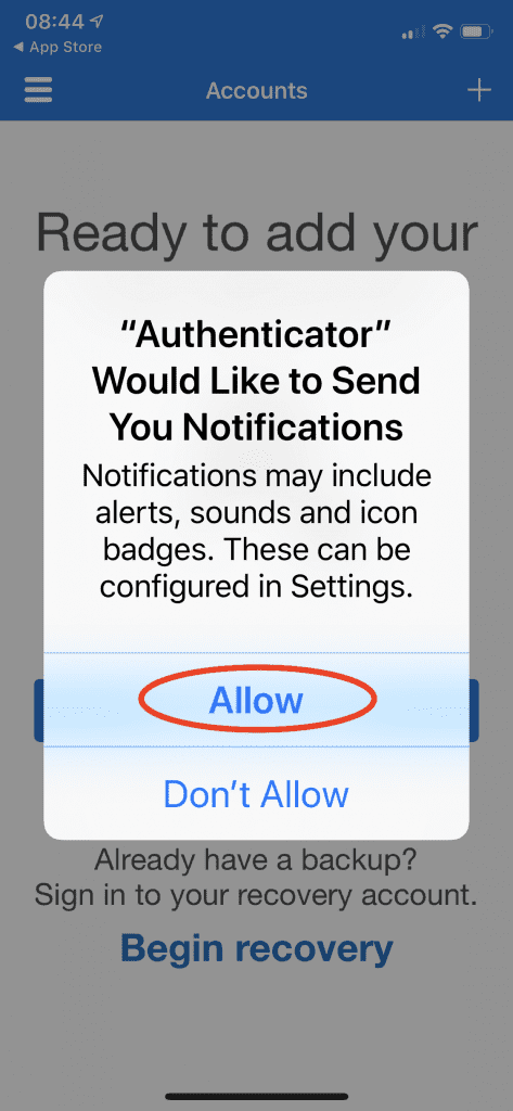 allow authenticator app to install